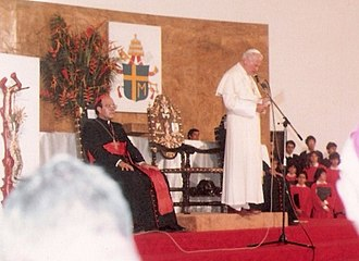 Cardinals created by John Paul II - Pope John Paul II (1920–2005) with Cardinal Alfonso López Trujillo (1935–2008).