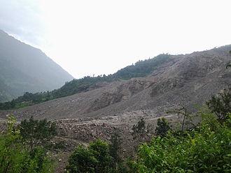 2014 Sunkoshi blockage - Jure area after landslide