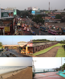 Clockwise from top: Gandhi Circle (formerly Caltex), St. Angelo's Fort, Thavakara Bus Terminal, Sea Pathway, Payyambalam Beach