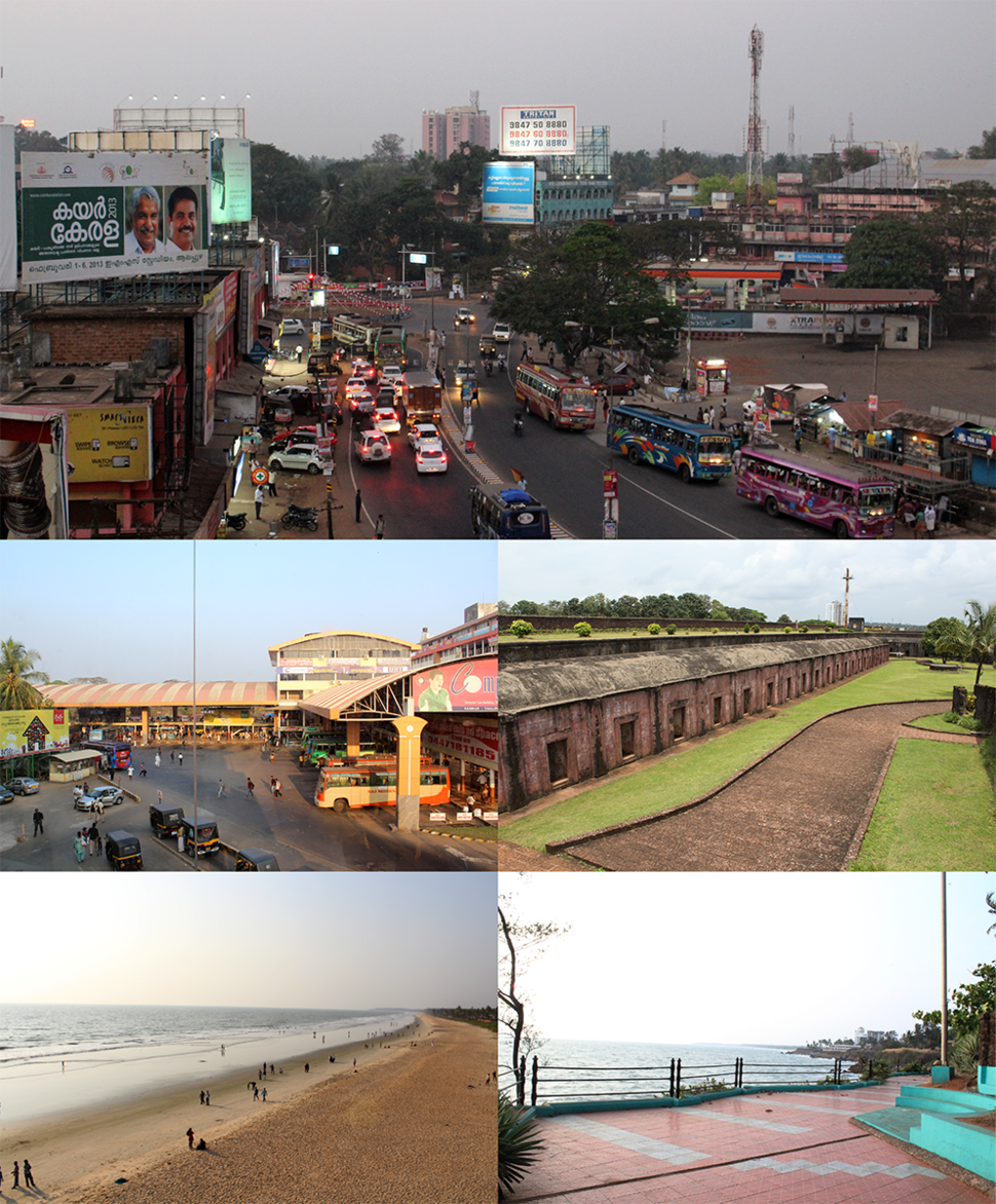 Clockwise from top: Gandhi Circle (formerly Caltex), St Angelo Fort, Sea Pathway, Payyambalam Beach, Thavakara Bus Terminal,