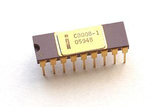 Intel 8008 - An Intel C8008-1 processor variant with purple ceramic, a gold heat spreader, and gold pins.