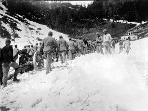 Kanonen werden durch Schnee den Berg hinaufgezogen - CH-BAR - 3239241.tif
