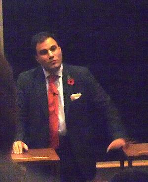 Karan Bilimoria, giving a talk in Cambridge (UK)