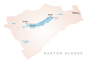 Klöntalersee -  map