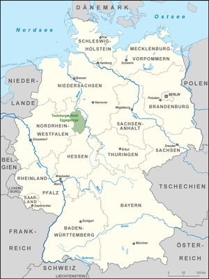 Teutoburg Forest / Egge Hills Nature Park - Location of the Teutoburg Forest / Egge Hills Nature Park