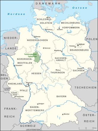 Teutoburg Forest / Egge Hills Nature Park - Location of the Teutoburg Forest / Egge Hills Nature Park
