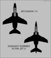 Kawasaki T-4 and Dassault-Dornier Alpha Jet A top-view silhouettes.png