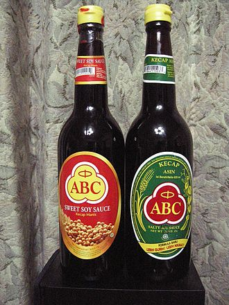 Soy sauce - Left, ABC brand Kecap manis sweet Indonesian soy sauce is nearly as thick as molasses; right, Kecap asin