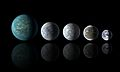 Kepler-22b, Kepler-69c, Kepler-62e, Kepler-62f and Earth.jpg