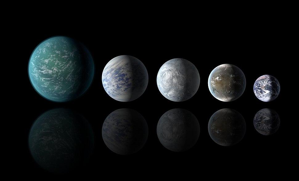 Kepler-22b, Kepler-69c, Kepler-62e, Kepler-62f and Earth