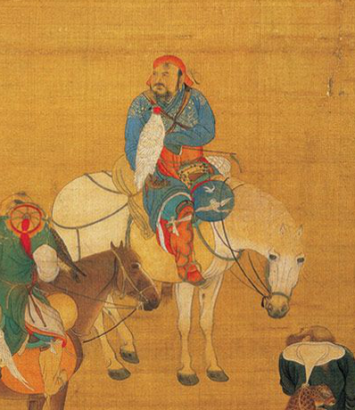 Khubilai Khan Hunting-Detail of a Falconer