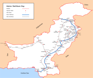 Khyber Mail (passenger train) - Khyber Mail route map