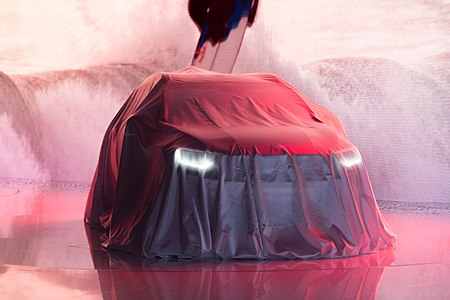 Kia Stonic covered by cloth before the official world premiere at IAA 2017, Frankfurt