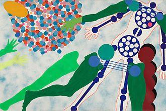 Kiki Kogelnik - Kiki Kogelnik, Female Robot, 1964, Oil and acrylic on canvas, 48½ inches × 72½ inches (123 × 184 cm). Kiki Kogelnik Foundation.