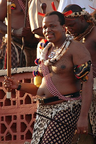 King Mswati III at the reed dance festival where he will choose his next wife King of Swaziland.jpg
