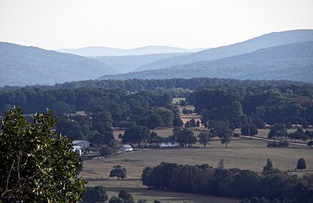 The Saint Francois Mountains, viewed here from Knob Lick Mountain, are the exposed geologic core of the Ozarks. Knob lick view-26aug06.jpg