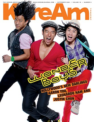 Leonardo Nam - on the cover of KoreAm, September 2008, with Justin Chon and Aaron Yoo