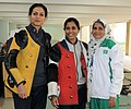 Kuheli Gangulee (INDIA) won Gold Medal, Anuja Jung (INDIA) won Silver Medal and Mandira Raees (PAKISTAN) won Bronze Medal in the 50m Rifle Prone Women's Individual, at the 12th South Asian Games-2016, in Guwahati.jpg