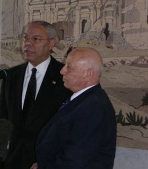 Ahmed Qurei - Qurei (right) as Prime Minister meeting then-U.S. Secretary of State Colin Powell
