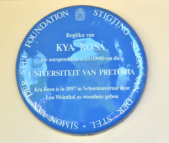 Photo of Leo Weinthal and University of Pretoria blue plaque