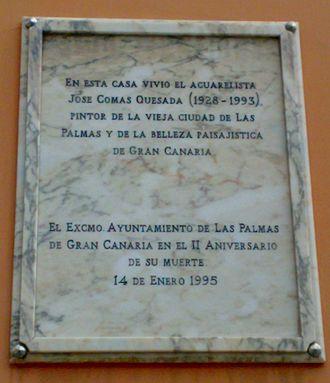 José Comas Quesada - Commemorative plaque.