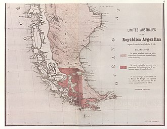 Boundary Treaty of 1881 between Chile and Argentina - Partial reproduction of the first Argentine map showing the boundaries laid down in the Boundary Treaty of 23 July 1881.