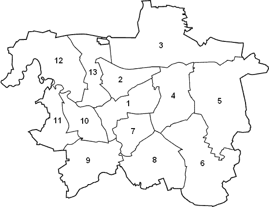 Lage der Stadtbezirke in Hannover