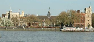 Archbishop of Canterbury - The Archbishop of Canterbury's official London residence is Lambeth Palace, photographed looking east across the River Thames