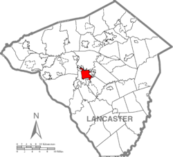 Lancaster city's location in Lancaster County