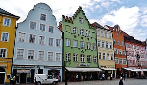 Old town houses in Landshut: (from left) tail gable, stepped gable, hip roof, volute gable and eaves-standing house
