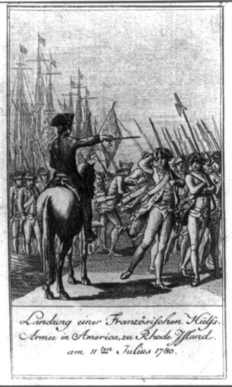 Jean-Baptiste Donatien de Vimeur, comte de Rochambeau - Landing of a French auxiliary army in Newport, Rhode Island on July 11, 1780 under the command of the comte de Rochambeau. This image is one of 12 scenes from the American Revolution printed in Allegemeines historisches Taschenbuch by Daniel Nickolaus Chodowiecki, a well-known Polish engraver.