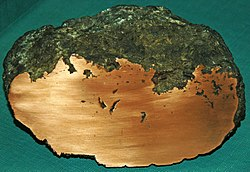 Large native copper amygdule (Mesoproterozoic, 1.05-1.06 Ga; Ahmeek Mine, Ahmeek, Upper Peninsula of Michigan, USA) 1 (17307955385).jpg