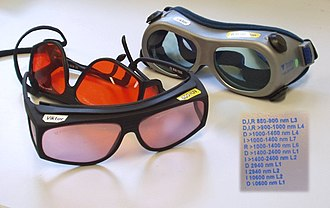 EN 207 - EN207-compliant laser goggles. The user has added yellow stickers summarizing the complicated EN207 specifications shown in the inset.