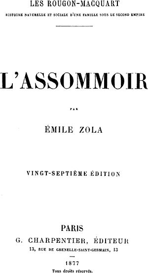 L'Assommoir - Cover of 1877 Charpentier edition of L'Assommoir