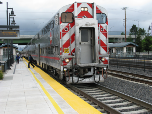 Lawrence station (Caltrain) - A train at Lawrence in 2011.