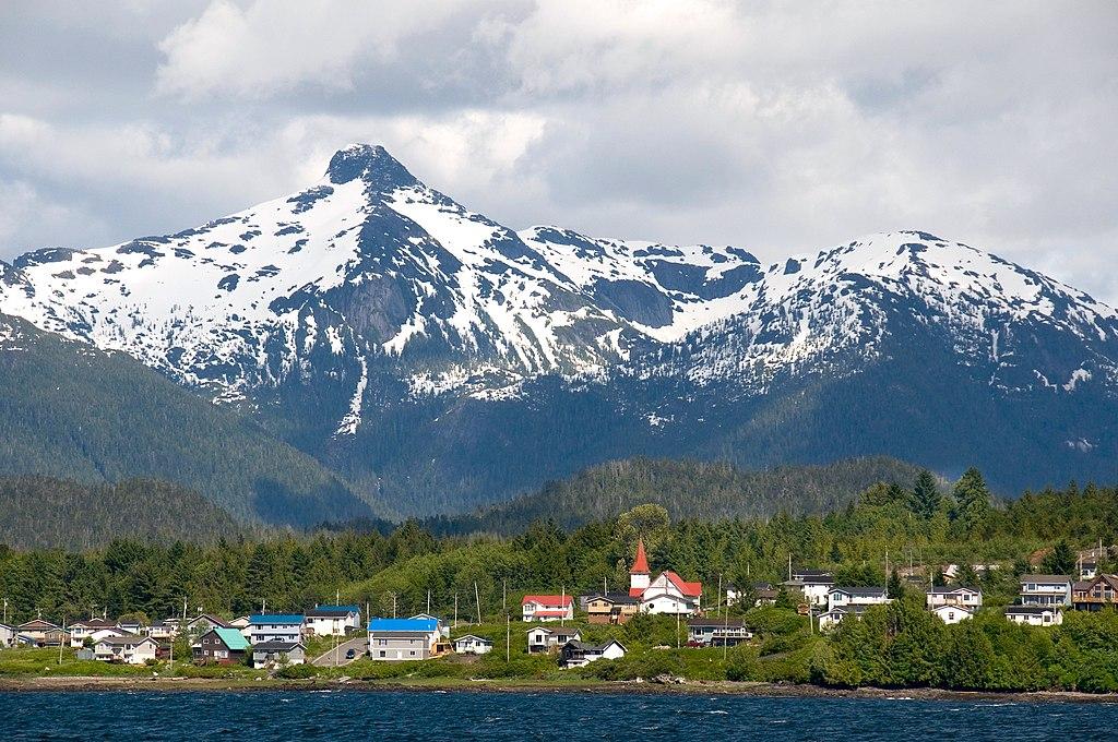 Lax Kw'alaams town on the coast of Kitima Range, British Columbian coastal mountains