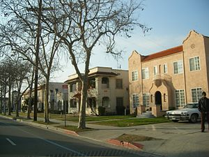 Leimert Park, Los Angeles - Houses and apartments along Martin Luther King Jr. Boulevard in eastern Leimert Park