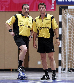 2009 World Men's Handball Championship - German officials Bernd Ullrich (left) and Frank Lemme (right) refereed the opening match between Croatia and South Korea on 16 January.