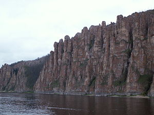 Lena Pillars - The pillars seen from a river cruise boat.
