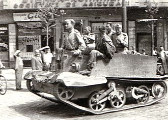 Lend-Lease - The Red Army in Bucharest near Boulevard of Carol I. with British-supplied Universal Carrier