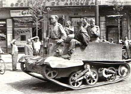 The Red Army in Bucharest near Boulevard of Carol I. with British-supplied Universal Carrier Lend-Lease x Universal Carrier x Intrarea Armatei Sovietice in Bucuresti - Bulevardul Carol.jpg