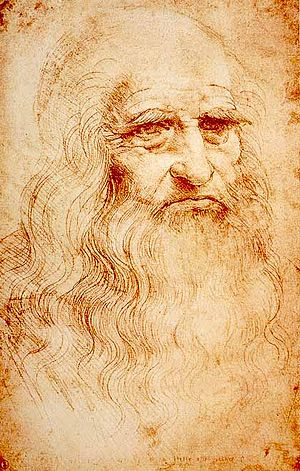Italy - Leonardo da Vinci, the quintessential Renaissance man, in a self-portrait, c. 1512. Royal Library, Turin