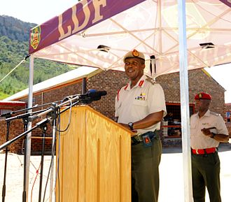 LDF Deputy Commander briefing soldiers Lesotho Defence Force Deputy Commander Maj. Gen. Motsomotso Medical Readiness Excercise 14-1.jpg