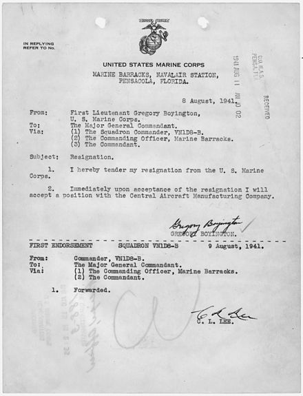 Resignation letter from the U.S. Marine Corps, used to accept a position with the Central Aircraft Manufacturing Co. Letter of resignation from the U.S. Marine Corps, to accept a position with the Central Aircraft Manufacturing... - NARA - 299719.jpg