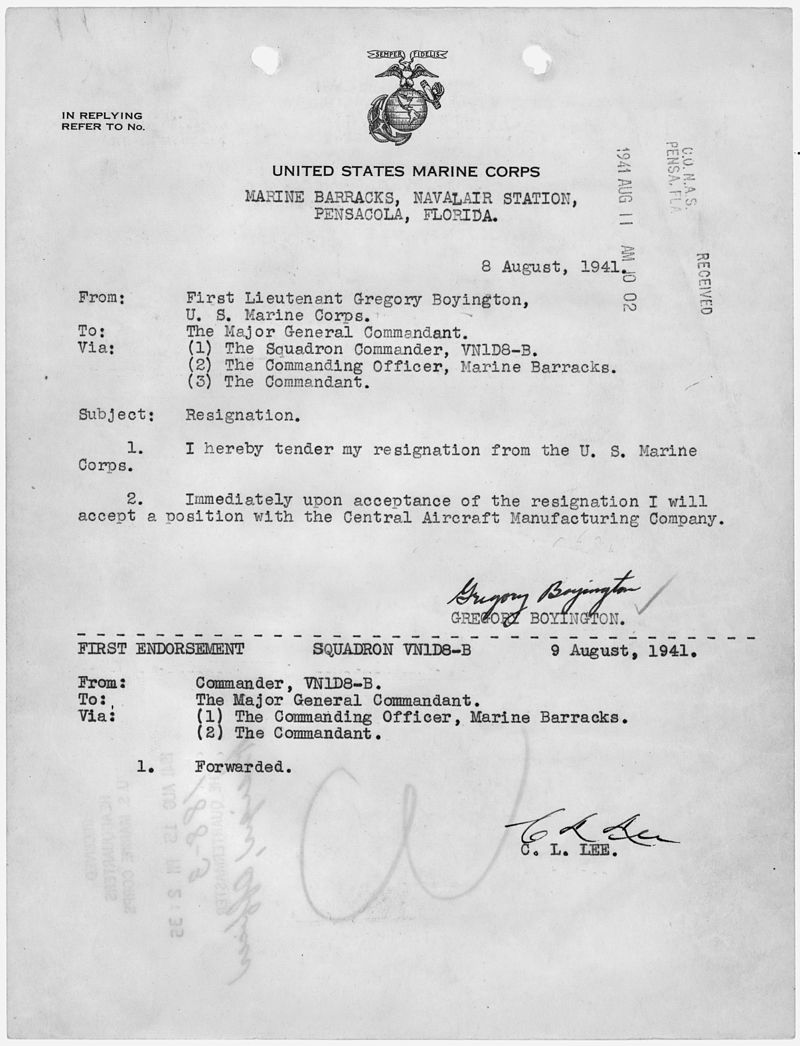 Letter of resignation from the U.S. Marine Corps, to accept a position with the Central Aircraft Manufacturing... - NARA - 299719.jpg
