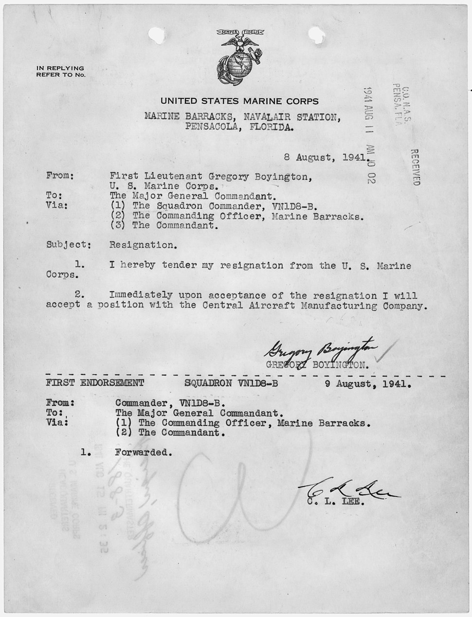 Letter of resignation from the U.S. Marine Corps, to accept a position with the Central Aircraft Manufacturing... - NARA - 299719
