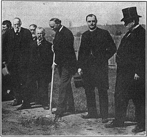 George Henry Williams - Mayor Williams at groundbreaking ceremony of the Lewis and Clark Centennial Exposition. Williams is second from left holding hat in his right hand. 1904