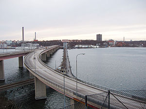 Lidingö Municipality - The two bridges connecting Lidingö with Stockholm.  Old bridge to the right.  View towards Ropsten.