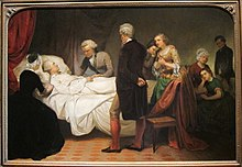 The scene of Washington on his deathbed with doctors and family surrounding.