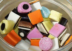 Liquorice allsorts - Image: Liquorice Allsorts in a glass bowl